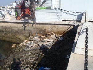 Retoma dos trabalhos de reabilitação da muralha da doca de recreio de Faro